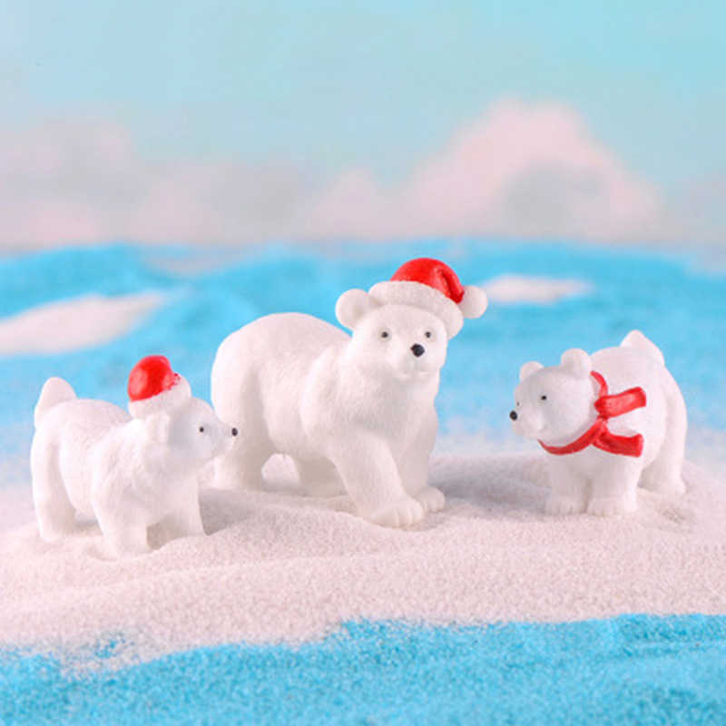 Christmas Polar Bear Figurines Fairy Garden decor Micro Landscape Ornaments Snow Bear DIY Accessories Resin Craft Miniature 1PC