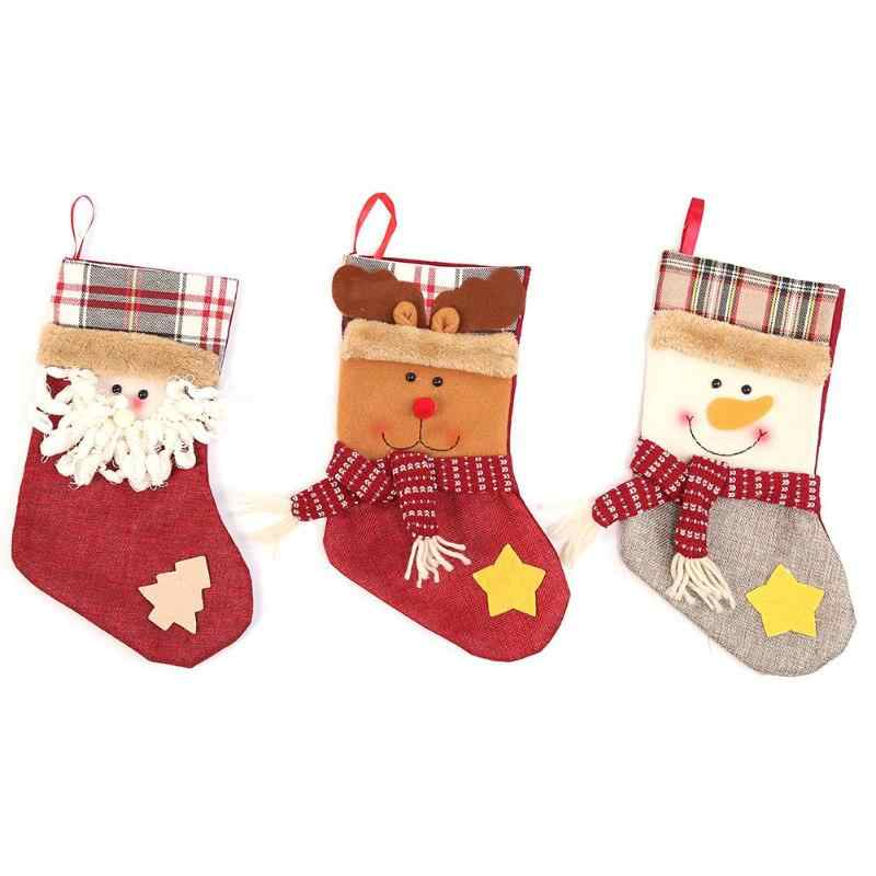 Cute Large Christmas Sock Children Candy Gifts Bag Pendant Home Party Decor