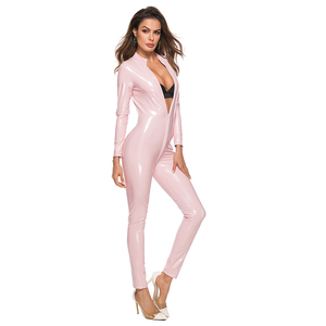 Image 4 - Sexy lateks wygląd Catsuit Faux Leather Cat kobiety kombinezony body z długim rękawem Zip otwórz Crotch Romper kostium Plus rozmiar