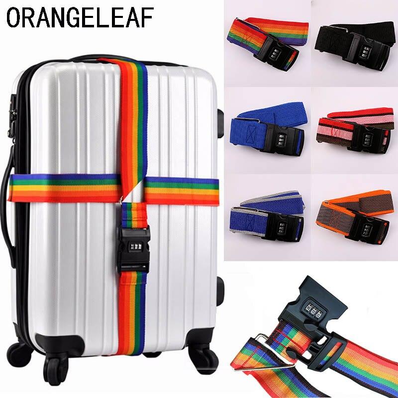Ajustável 420 cm alça de bagagem acessórios de viagem cinto cruz embalagem mala de viagem náilon 3 dígitos senha bloqueio fivela correia tag