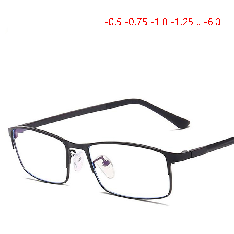 2019 New High-end Classical Metal Nearsighted Glasses Men 1.56 Aspherical Lens Prescription Spectacles -0.5 -0.75 -1.0 To -6.0