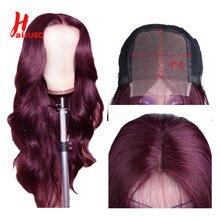 Парик HairUGo из человеческих волос с застежкой на сетке 4*4 Для Женщин, красный парик с застежкой 99j, бразильский парик без повреждений на сетке, ...