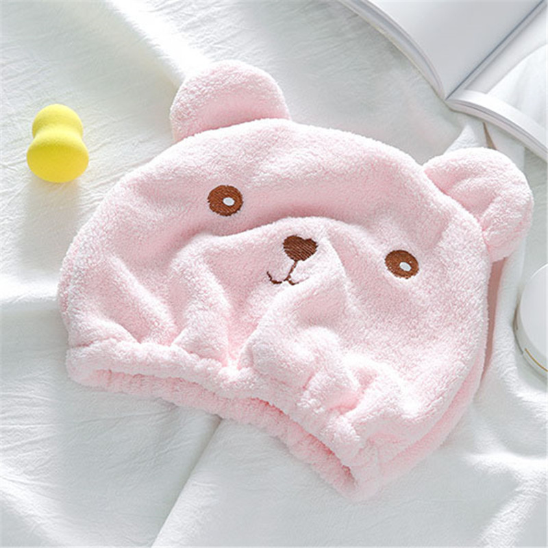 Polyester Dry Hair Cap Coral Wool Hood Moisture Absorption Soft Quick Dry Cartoon Bear Bath Hat Children and Adult Bath Products