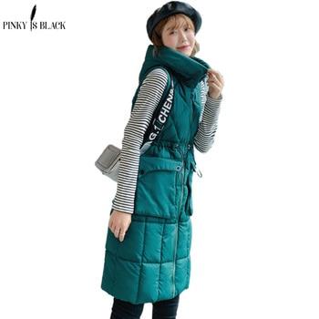 цена на PinkyIsBlack 2020 Women Winter Vest Waistcoat New Women Long Vest Sleeveless Jacket Hooded Quilting Down Cotton Warm Vest Female