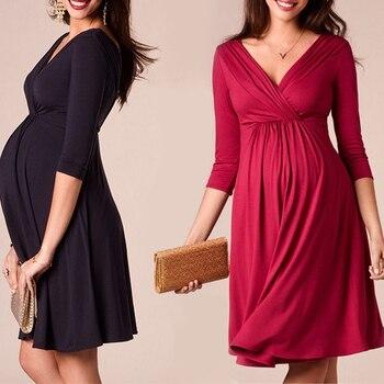 Womens V-Neck Solid Pregnancy-Dresses