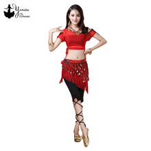 Womens Belly Dance Clothes Short Sleeve Stage Performance Clothing Red Yellow Practice Clothes Suit Bellydance Pants Bandage New