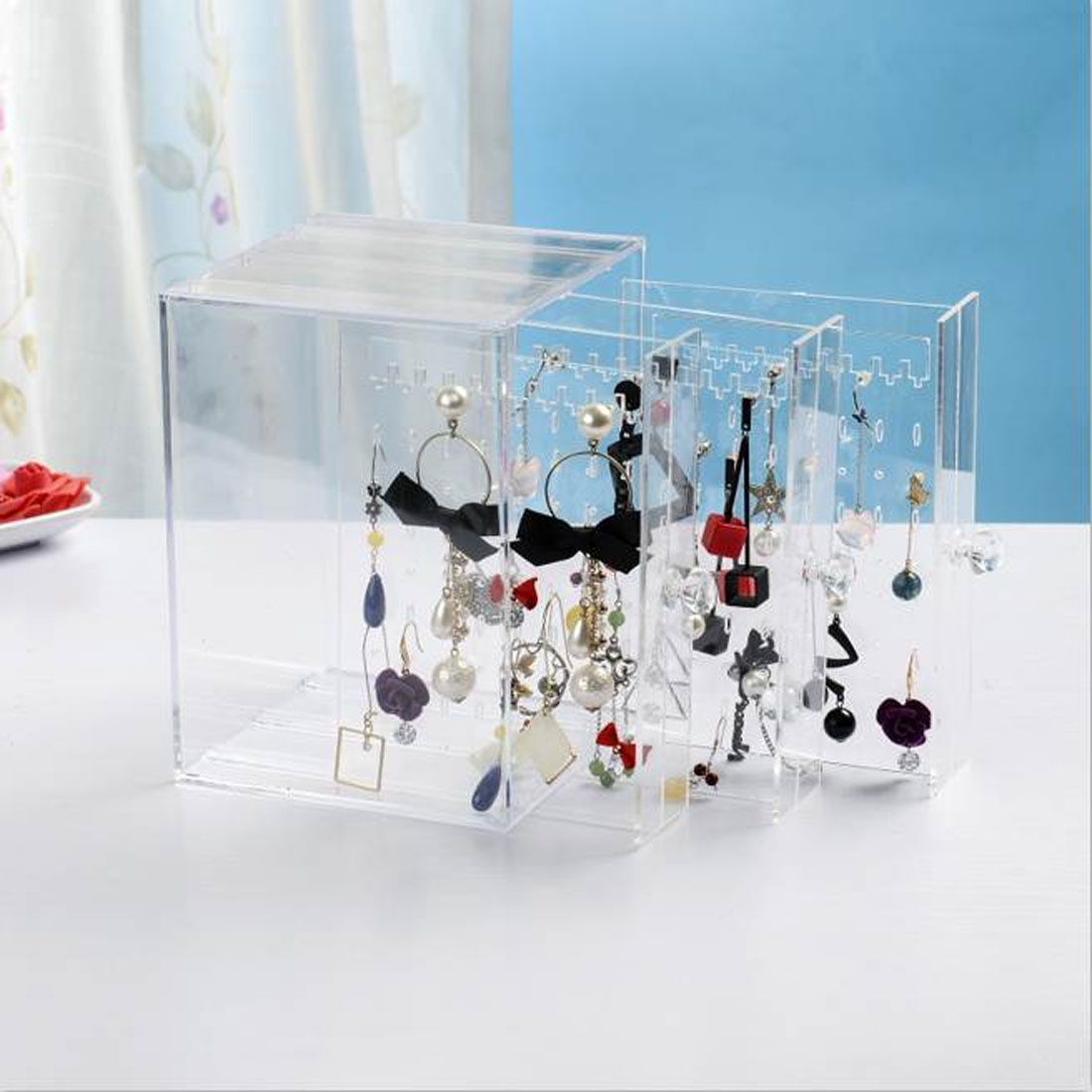 New Fasion PS Material Jewelry Display Holds Up Earrings Earring Holder And Jewelry Organizer Earring Showcase Stand Box in Jewelry Packaging Display from Jewelry Accessories