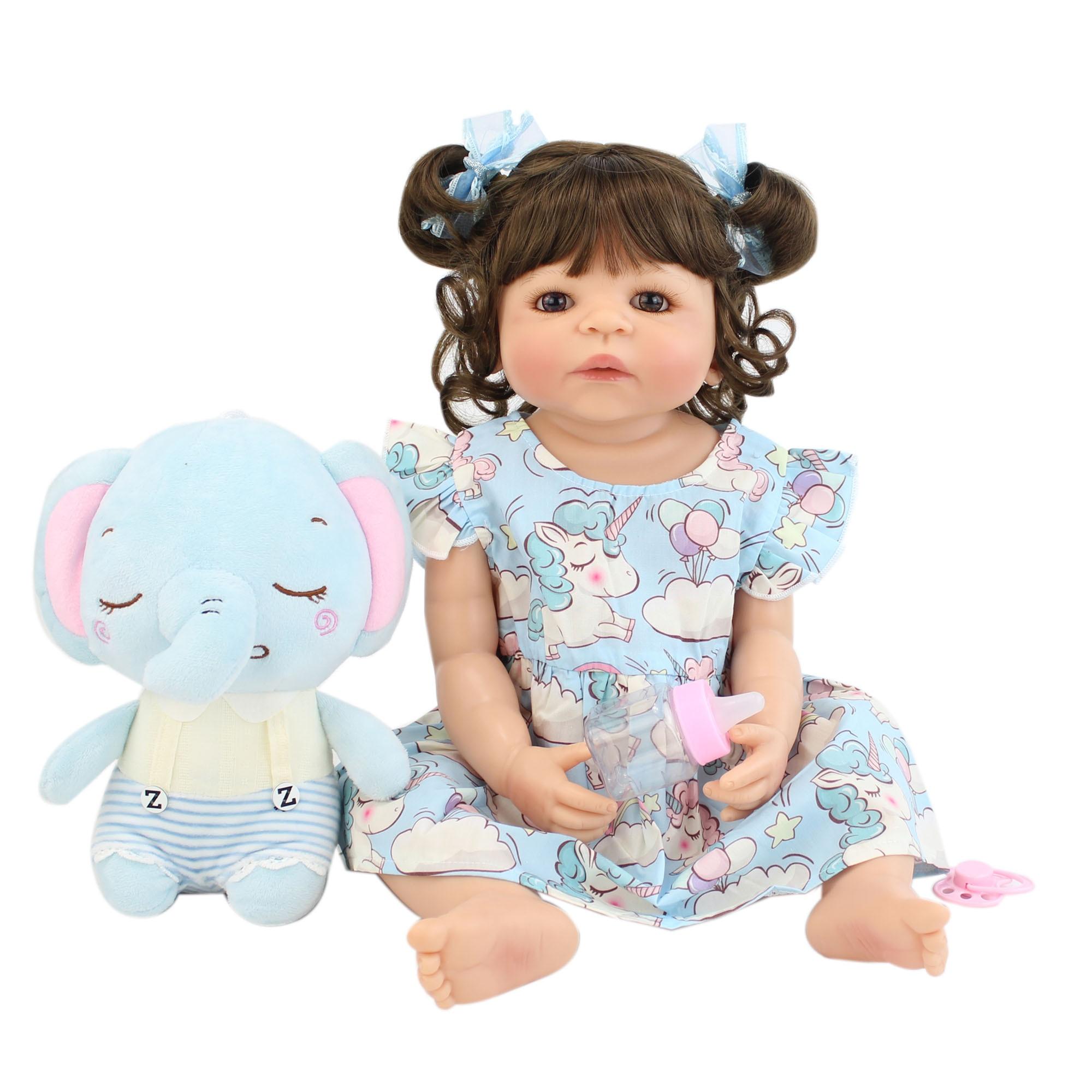 Muñeca Reborn de cuerpo de vinilo de 55cm para niña, juguete de bebé para recién nacidos, Princesa, baño, regalo de cumpleaños