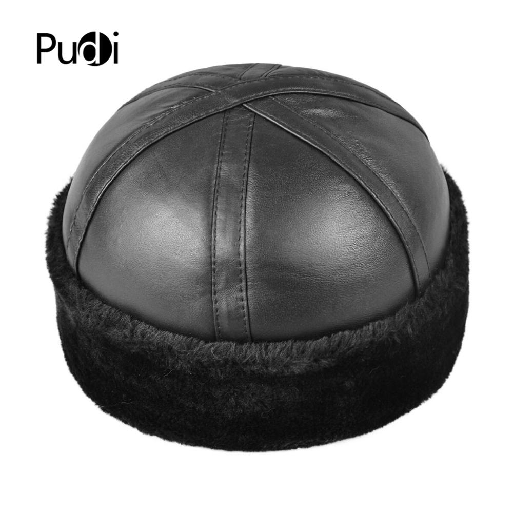 Aorice genuine leather base ball cap  winter hats beanies with Faux fur inside HL014