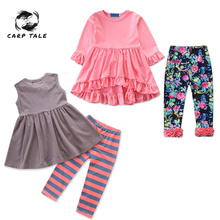 Baby Girls Clothing Sets 12M-6T Summer and Spring Infant Petal Short Sleeve T-shirts Pants 2pcs Toddler Newborn Girl Clothes