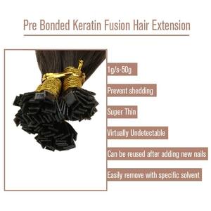 Image 4 - VeSunny Pre Bonded keratyna płaska końcówka przedłużanie włosów 100% prawdziwe ludzkie włosy Fusion Hair 50gr na zestaw 14 24 cali