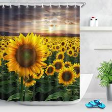 Sunflower Farmland Shower Curtain Nature Scenery Flower Sea Plants Floral Decor Bathroom Curtains Fabric Waterproof Polyester sunflower butterfly print fabric rustic wood shower curtain set yellow flower waterproof mildewproof bathroom shower curtains