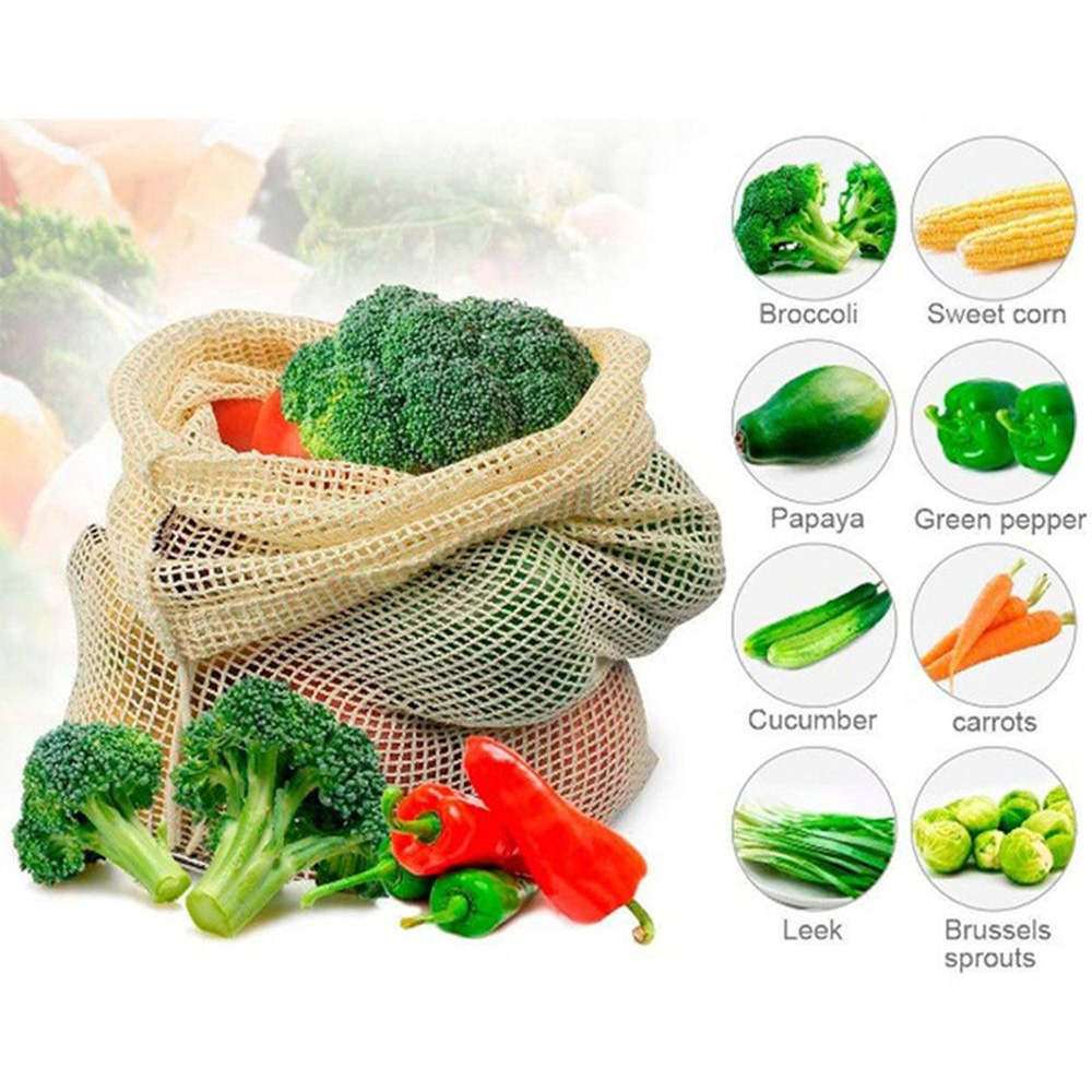 MOONBIFFY 1PC Useful Vegetable Bags Eco Cotton Shopping Bag Reusable Storage Mesh Bags Washable For Kitchen Home Mesh Bags
