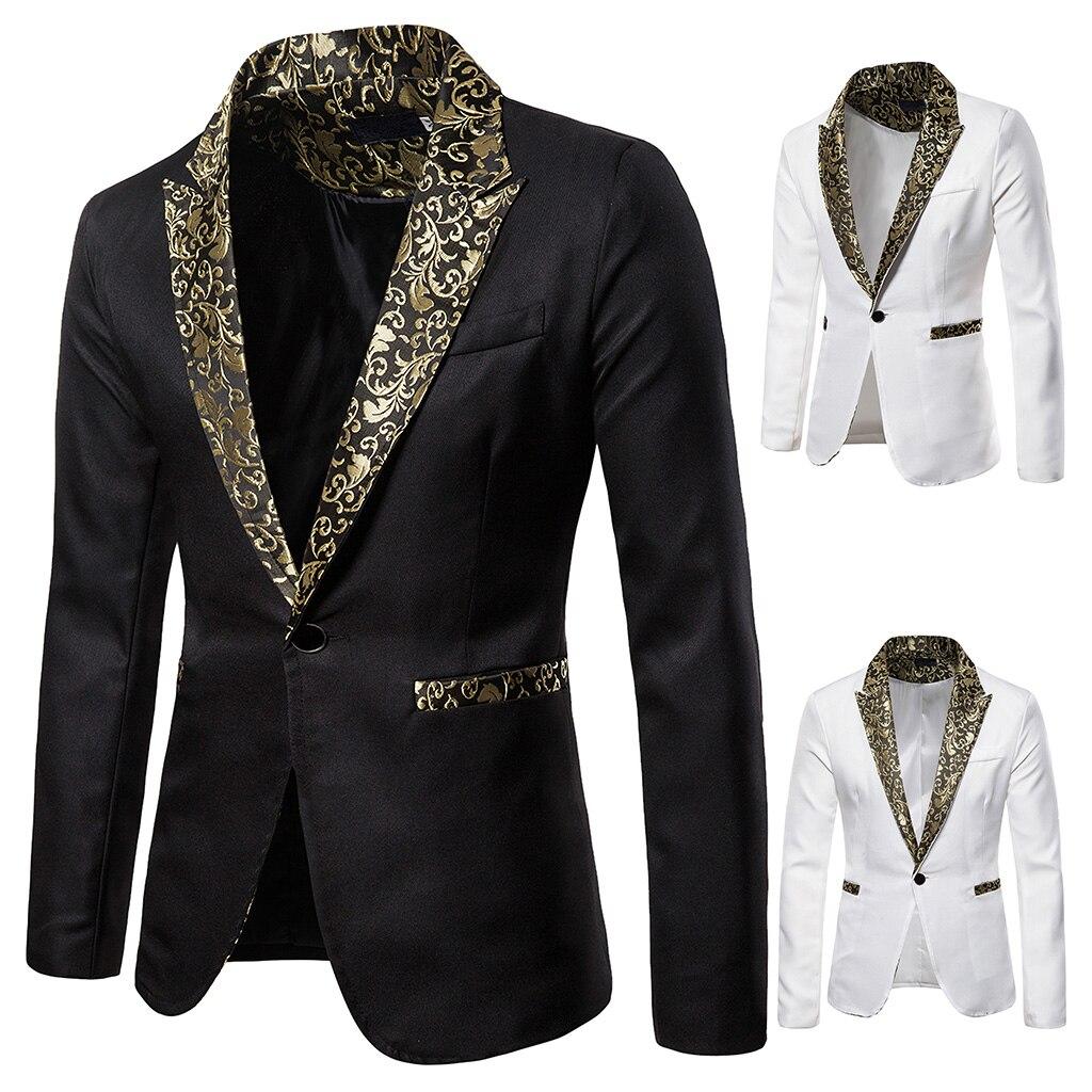 Brand  2019 Men's Blazer Jacket Patchwork Luxury Printed Collar Autumn Fashion Wedding Party Suit Coats DJ Stage Costume