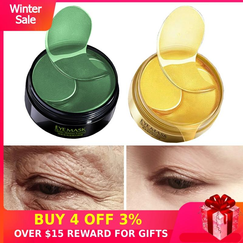 60PCS Hydrogel Eye Patches Anti Aging Collagen Eyes Mask Gold Green Ageless Korean Gel Patch Anti Wrinkles Dark Circles Bags M