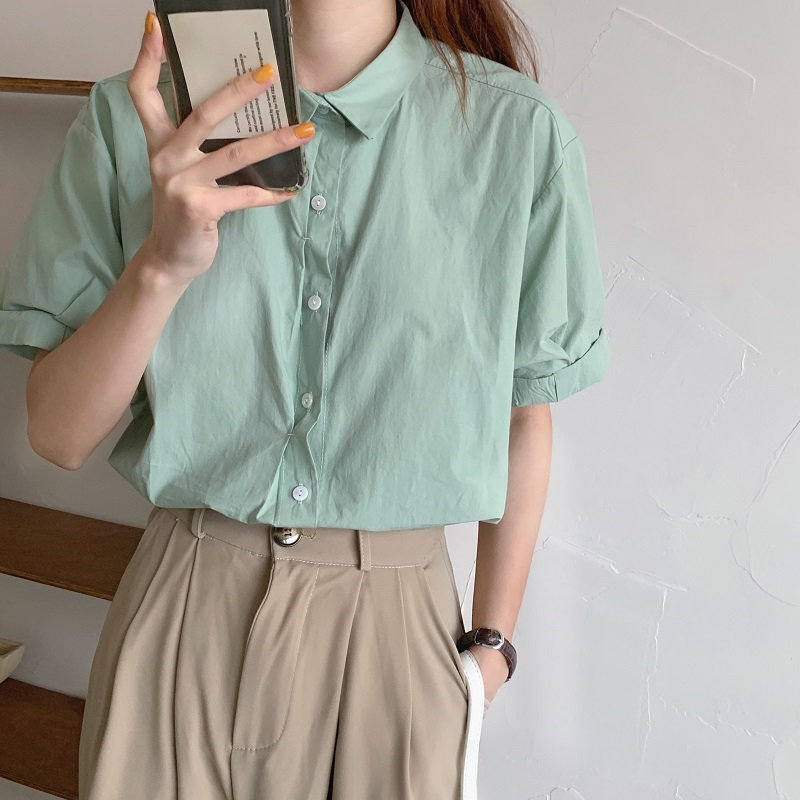 HziriP Basic Simple Casual Solid Candy Color Lapel All Match 2020 Chic OL Casual Summer Loose Short Sleeve Shirts Four Colors