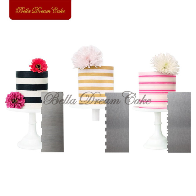 3 개/대 스트라이프 스테인레스 스틸 스크레이퍼 케이크 주걱 버터 크림 매끄러운 케이크 빗 케이크 장식 도구 베이킹 케이크 금형