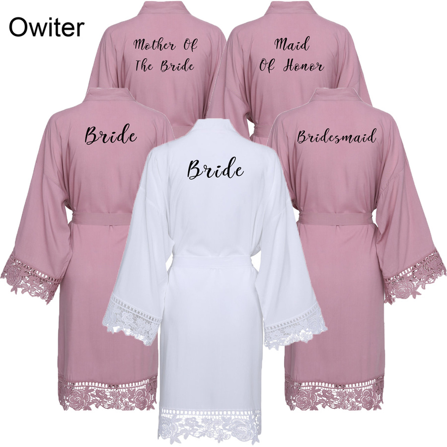 Owiter Rayon Mauve Solid Cotton Kimono Robes with Lace Trim Women Wedding Bridal Robe Short Belt Bathrobe Sleepwear White Gown in Robes from Underwear Sleepwears
