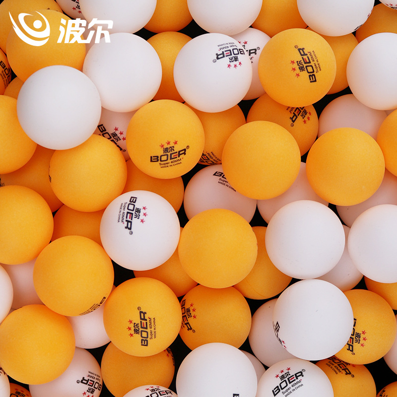 BOER One Pack 100pcs Table Three-stars Tennis Balls Seamless ABS 40+ Balls Plastic Ping Pong Balls Durable High-elastic Durable