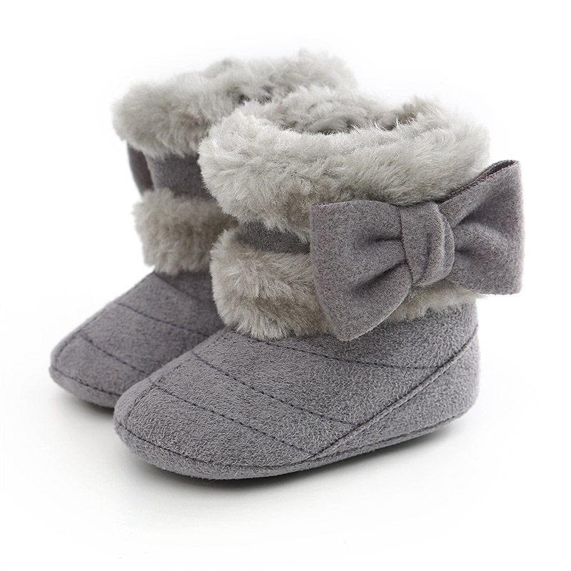 Winter Baby Schoenen Baby Peuter Meisje Laarzen Leuke Grote Bows Dikke Warme Lange Pluche Non-Slip Rubber Zolen Meisjes snowboots