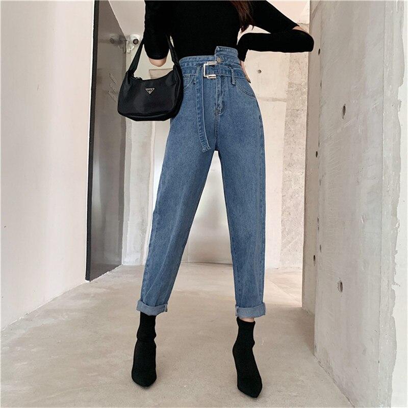JUJULAND Women Harem Denim Pants High Waist Jeans Woman Casual Vintage Jeans Boyfriend Mom Jeans Light Blue Streetwear 9677