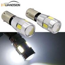 2 Stuks Wit BA9S BAX9s H6W BAY9S H21W 6 Smd Led 433 434 Projector Lens Canbus Lamp Indicator Reverse Side licht Fout Gratis