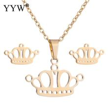 Fashion Stainless Steel Jewelry Sets Stud Earring Necklace With 5cm Extender Chain Crown Plated Oval For Woman