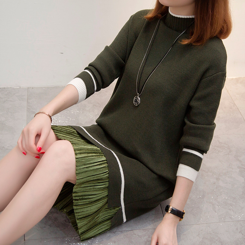 Long Sleeve Green Dress Knitted Sweater Dress  Oversized Sweater Fall Loose Casual Dress Large Sizes
