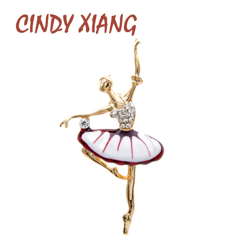 CINDY XIANG 4 Colors Available Enamel Dancing Girl Brooches For Women Ballet Brooch Fashion Jewelry Spring Design Pin New 2020