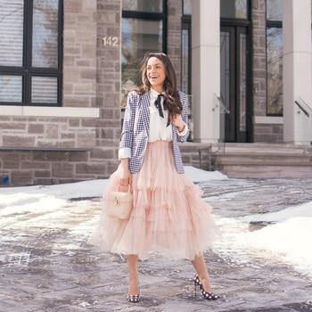Winter Peach Pink Ruffles Tiered Women Tulle Skirts Elastic Elegant Tea Length Tutu Skirt Custom Made Female Saias