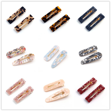 2Pcs/Pair Women Acetic Acid Hollow Geometric Hair Clips Colored Marble Textured Duckbill Hairpins Water Drop Rectangle Barrettes
