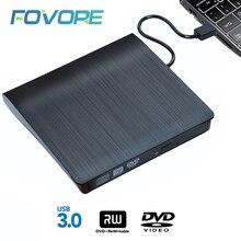 Externe USB 3,0 High Speed DL DVD RW Brenner CD Writer Schlank Tragbare Optische Stick für Asus Samsung Acer Dell laptop PC HP