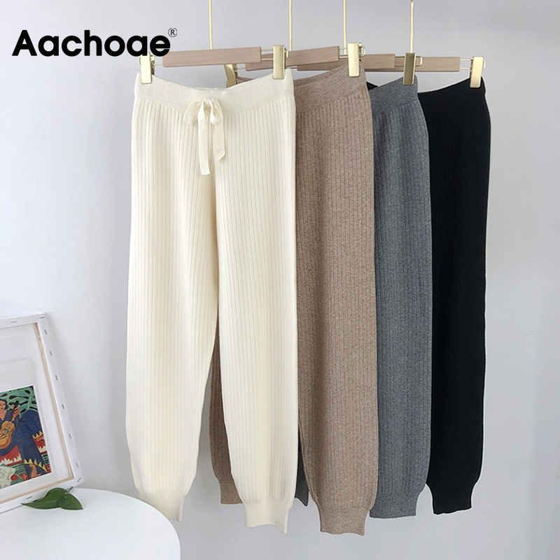 Aachoae Casual Knitted Pants Women Drawstring Elastic Waist Long Trousers Female Solid Color Ladies Pencil Pants Pantalones