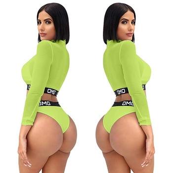 Women Sexy Solid Color Mesh Long Sleeve Crop Top Three Piece Bikini Set Ladies Letter Cheeky Triangle Bathing Suit Swimwear 5