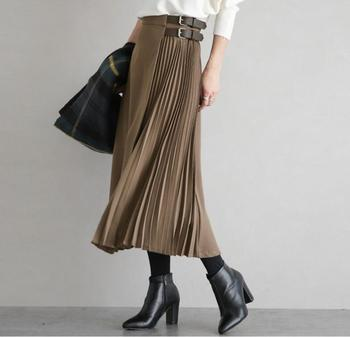 Cinturón de oficina, invierno, Faldas Largas plisadas para Mujer, algodón, banda, Jupe, elegantes Faldas, largo plisado, falda de gasa