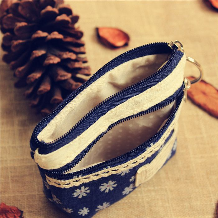 Pastoral Style Wallet Coin Bits And Pieces Flower Wallet Cloth Bag Small Storage Bag Earphone Bag-Korean Style Fresh Girl'S Free