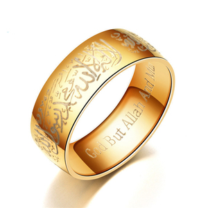 Image 4 - Vintage Totem Ring Gold Blue 8mm Titanium Muslim Rings for Women Men Simple High Quality Print Rings Fashion Jewelry