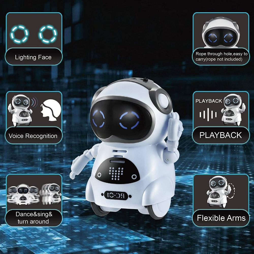Pocket Robot Talking Interactive Dialogue Voice Recognition Record Singing Dancing Telling Story Mini Intelligent Robot Toy 6