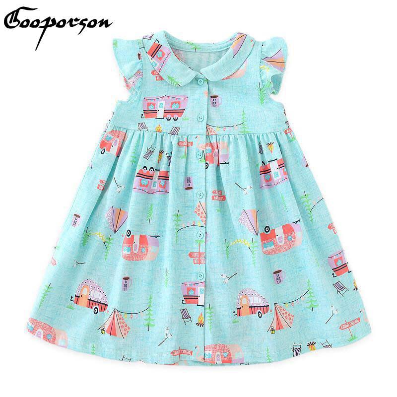 Kids Girl Summer Dress Cotton Sleeveless Car Printed Dress for Baby Girl 2-6 Years Old Casual Tracksuit Dress Cute Clothes