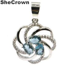 27x20mm Hot Sell Created London Blue Topaz CZ Gift For Woman's Silver Pendant