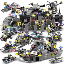 792Pcs Navy SEALS Military Helicopter Warship Police SWAT Police Building Blocks Sets LegoINGLs Technic Bricks Toys For Children