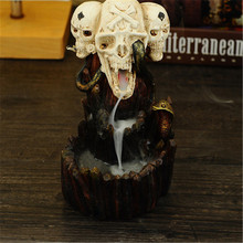 Backflow Incense Burner Aromatherapy Furnace Smell Aromatic Home Incense Crafts Halloween  Skull Head Resin Incense Holder kovacs cheap smell