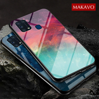 For Samsung Galaxy M31 Case Tempered Glass Gradient Back Cover Soft Silicon Frame Case for Samsung Galaxy M31