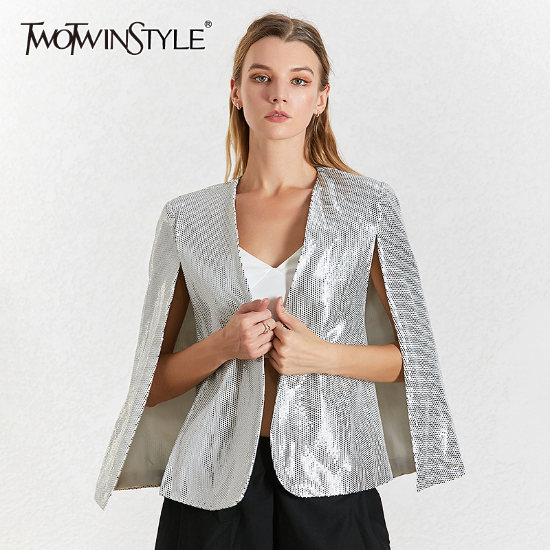 TWOTWINSTYLE Sequin Patchwork Women's Blazer Coat V Neck Long Sleeve Cloak Blazers Female Autumn 2020 Fashion New Clothing