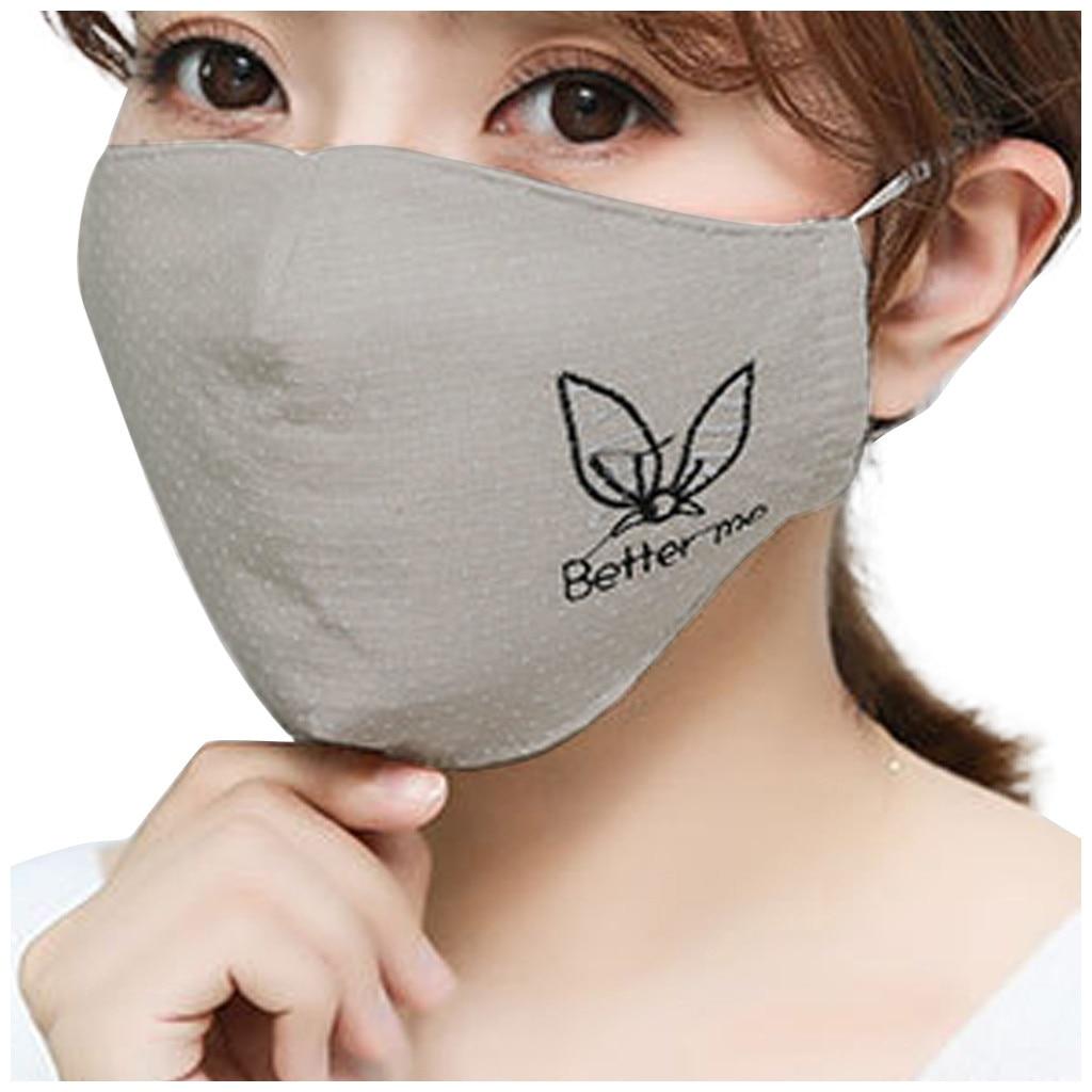 H63b919b349ab40ebaceff05afc14732el Kawaii Maska Women Cotton Print Facemask Outdoor Riding Quick-drying Dustproof Keep Warm Mask