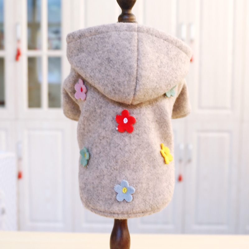 PETCIRCLE одежда для любимца Мишка шпиц модная одежда с маленькими цветами шерстяная Толстая осенне зимняя одежда|Толстовки для собак|   | АлиЭкспресс