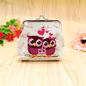 Cute Owl Printing Woman Coin Purse PU Leather Small Wallet Card Holders Female Money Change Bag Wallet Hasp Pouch Clutch Bag