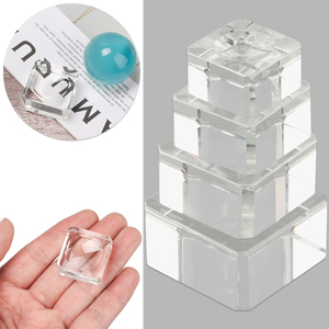 Fixed Seat Crystal Sphere Base Square Glass Holder Wood Pedestal Transparent Support Gift Desktop Ornament Ball Display Stand
