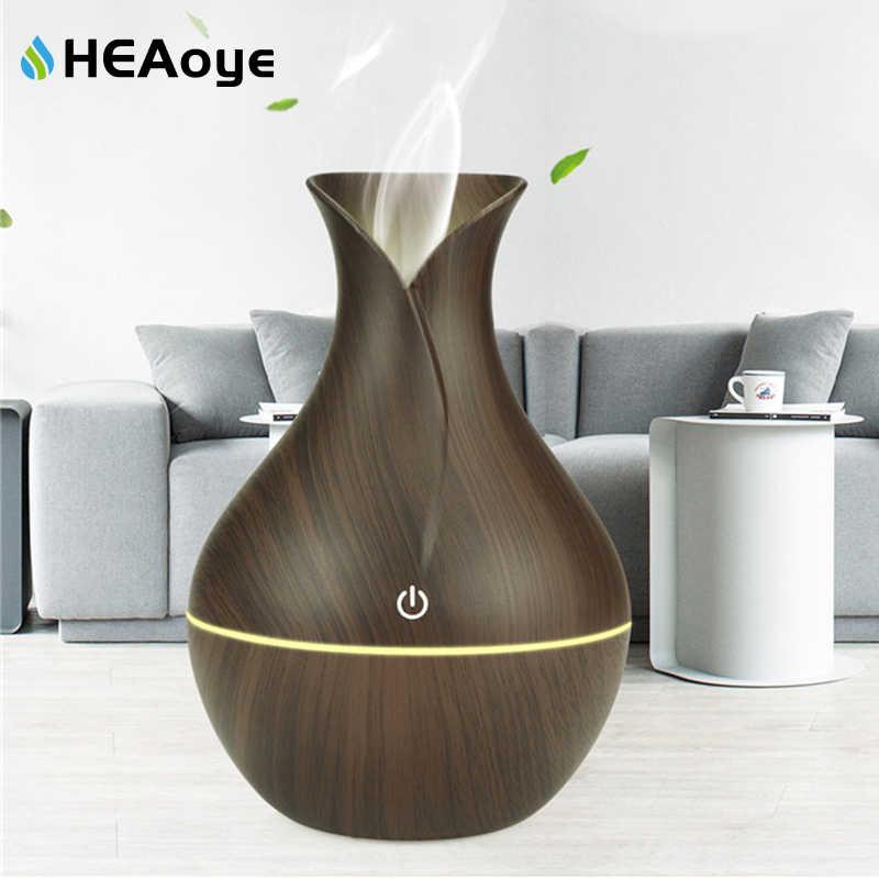 Usb grão de madeira difusor do óleo essencial umidificador ar ultra-sônico difusor aroma do agregado familiar aromaterapia névoa maker com luz