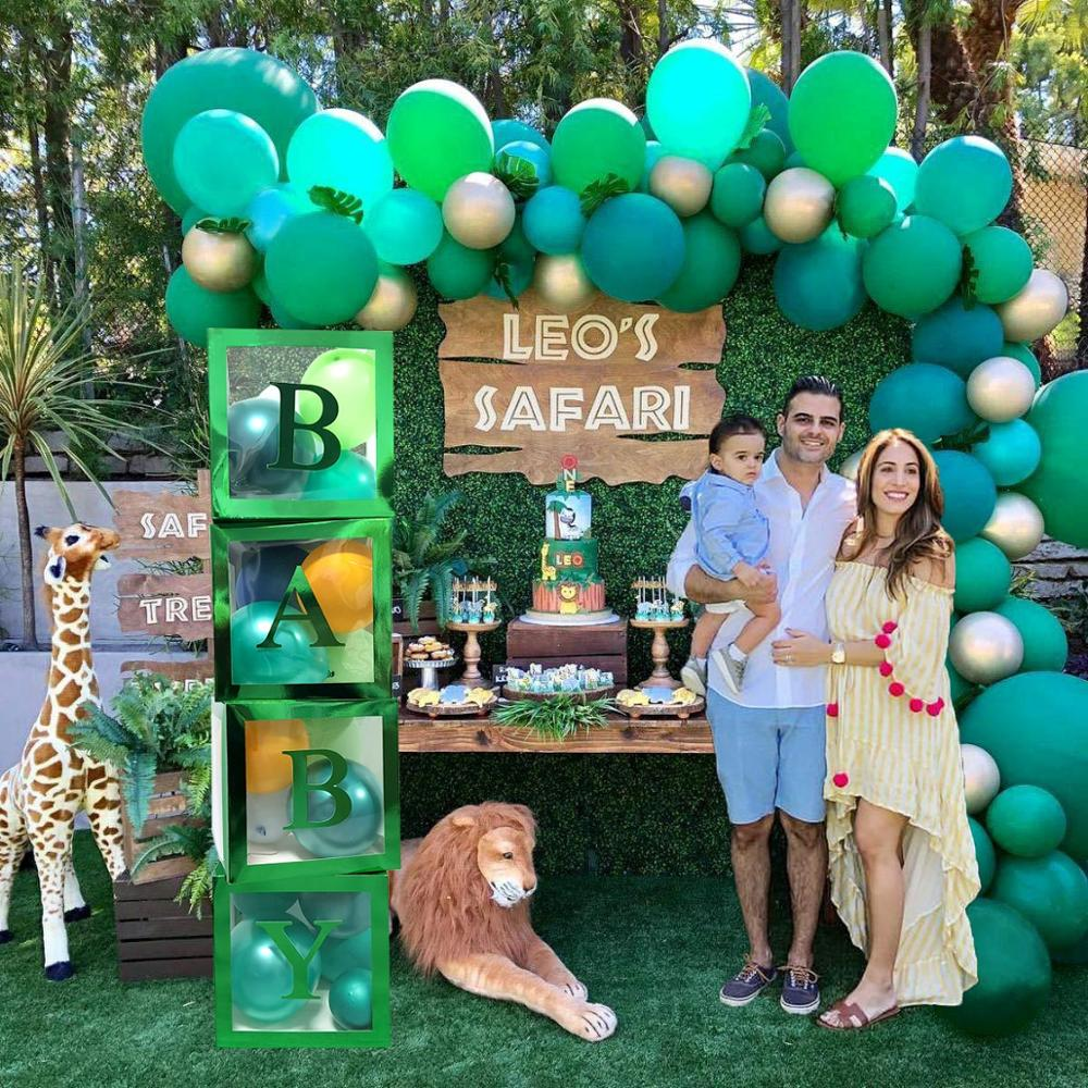Taoup LIons Green Boxs Safari Birthday Party Supplies Jungle Animals Party Decorations Baby Shower Boys Favors Gifts DIY Boxs